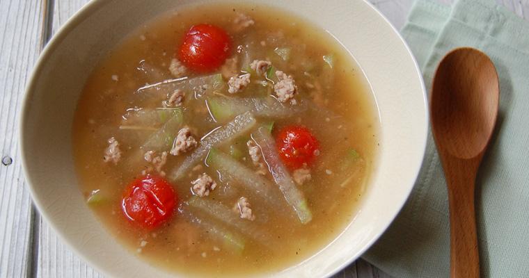 冬瓜と豚ひき肉のあんかけスープ
