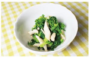 「菜の花と鶏ささみ」の辛子醤油和え