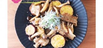 豚バラ肉とさつまいもと きのこの香味炒め